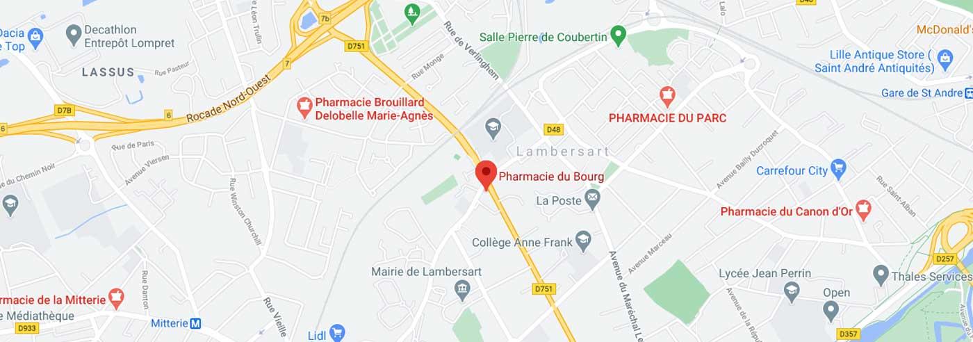 Google Map Pharmacie du Bourg Lambersart